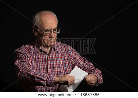 Old Man With Bank Document