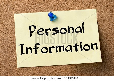 Personal Information - Adhesive Label Pinned On Bulletin Board