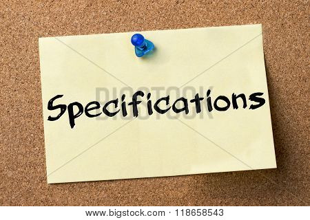 Specifications - Adhesive Label Pinned On Bulletin Board