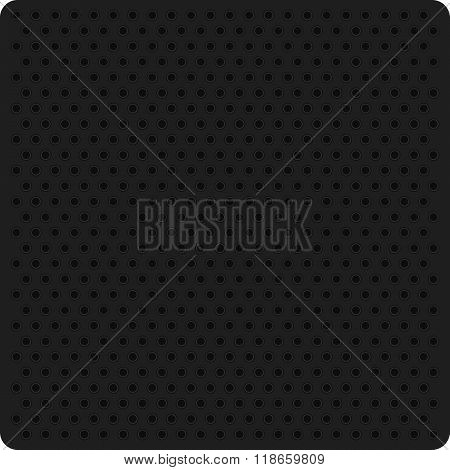 Vector illustration of a black perforated metal.