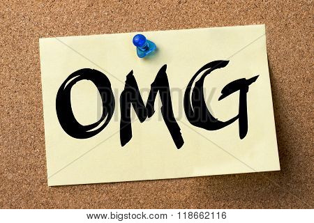 Omg - Adhesive Label Pinned On Bulletin Board