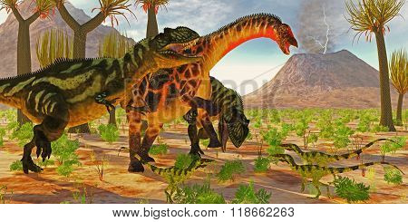 Dicraeosaurus Attacked By Yangchuanosaurus