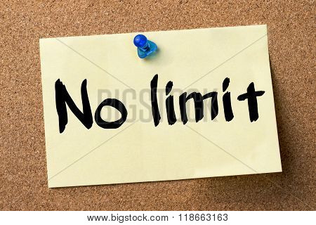 No Limit - Adhesive Label Pinned On Bulletin Board