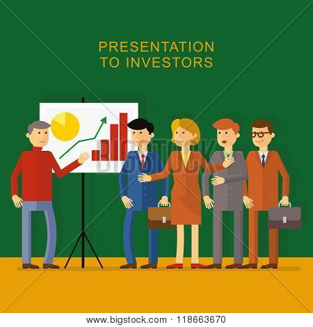 Flat picture: the man in the office presents a start-up project to investors. Shows businessmen with briefcases in suits and business woman schedule with increasing investment