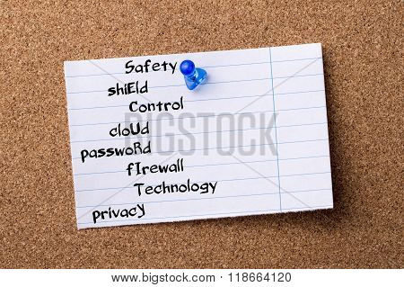 Safety Shield Control Cloud Password Firewall Technology Privacy Security - Teared Note Paper Pinned