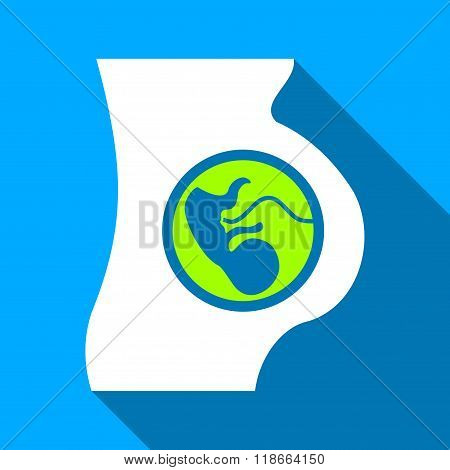 Pregnant Mother Embryo Flat Long Shadow Square Icon