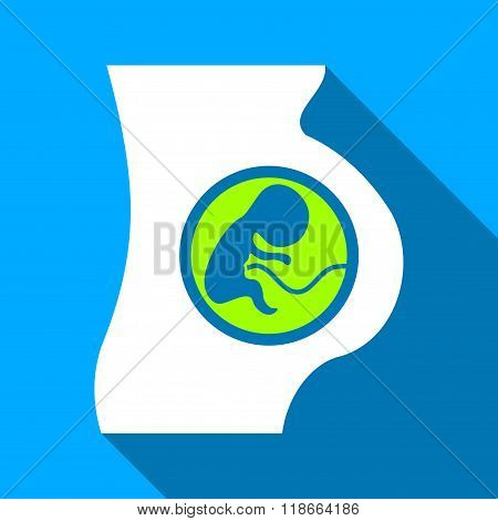 Pregnant Woman Embryo Flat Long Shadow Square Icon