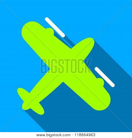 Screw Aeroplane Flat Long Shadow Square Icon
