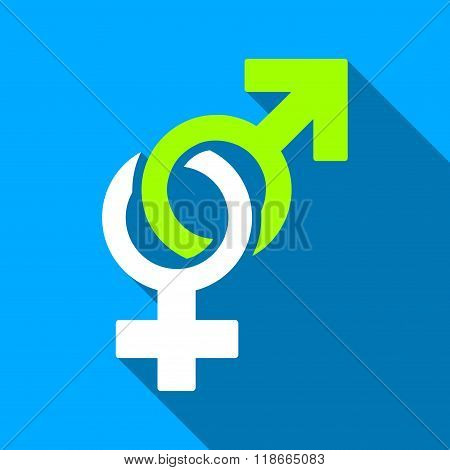 Sexual Symbols Flat Long Shadow Square Icon