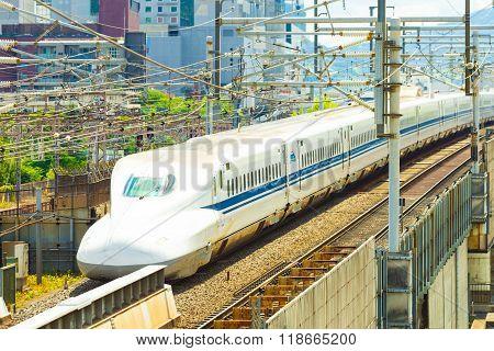 Shinkansen Bullet Train Departing Kyoto Angled