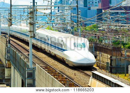 Shinkansen Bullet Train Approaching Angled