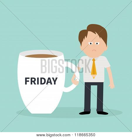Friday Coffee Cup Mug Sleepy Businessman Manager Blue Background Flat Modern Simply Design