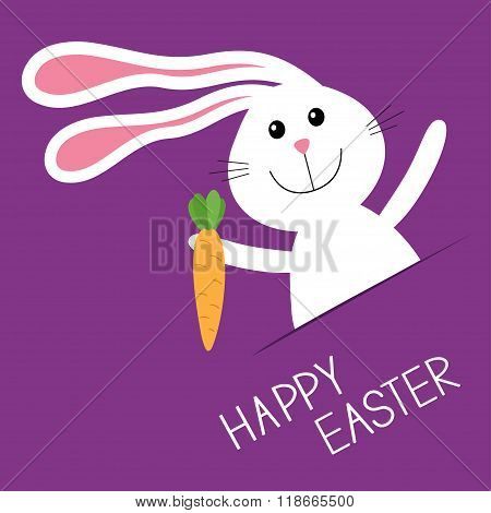 Happy Easter. Bunny Rabbit Hare Carrot In The Pocket. Baby Greeting Card. Violet Background. Flat De