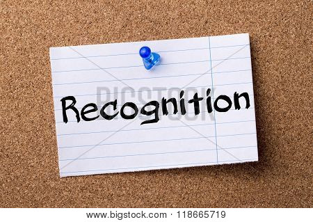 Recognition - Teared Note Paper Pinned On Bulletin Board