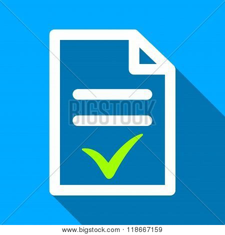 Valid Document Flat Long Shadow Square Icon