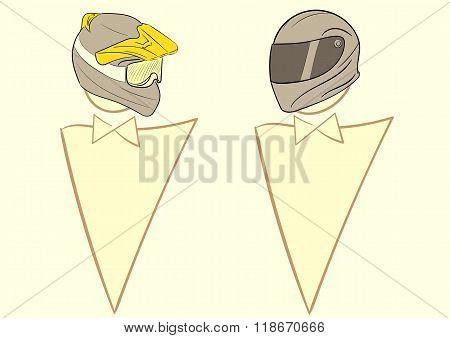Motorcyclists in a helmet