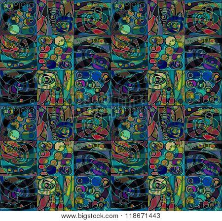 Motley blue and green Geometrical Stylized Pattern