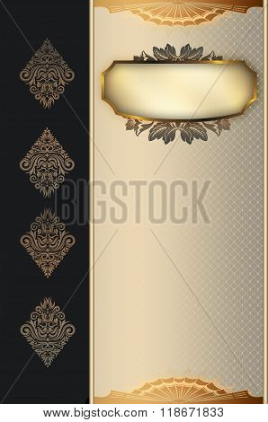 Decorative Background With Gold Frame.