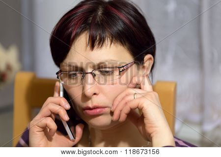 Tired Woman Call By Phone