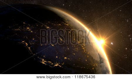 Planet Earth with a spectacular sunrise