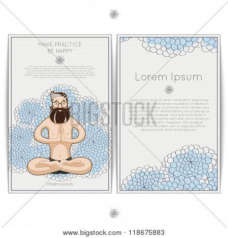 Young smiling man meditating in lotus posture.