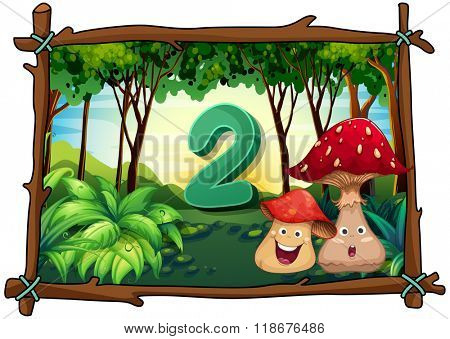 Number two with 2 mushrooms in the forest illustration