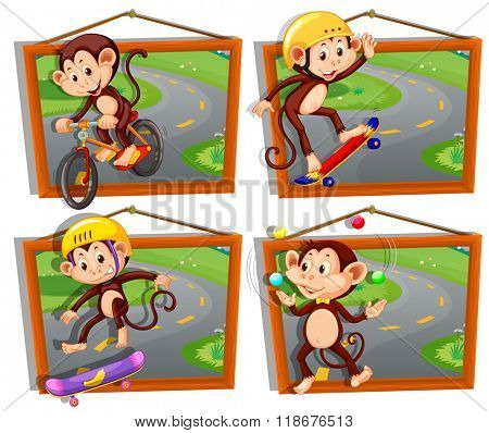 Four frames of monkeys playing sports illustration