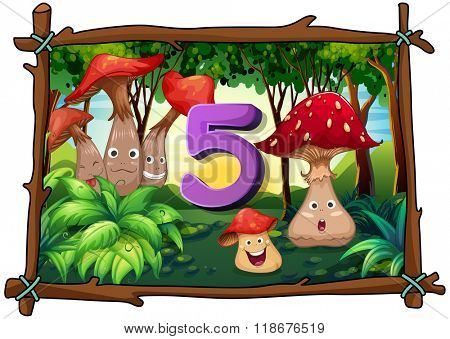 Number five with 5 mushrooms in the forest illustration
