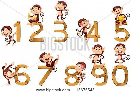 Number one to ten with monkeys illustration