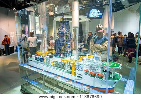 NAGOYA JAPAN - NOVEMBER 18 2015: Nagoya City Science Museum houses the largest planetarium in the world it portrays life sciences and general science with a variety of hands-on exhibits
