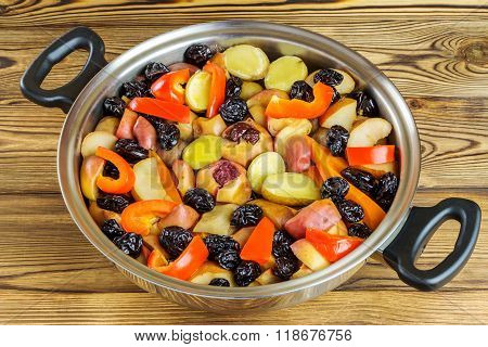 Healthy Food, Colorful Stewed Various Vegetables In Pan