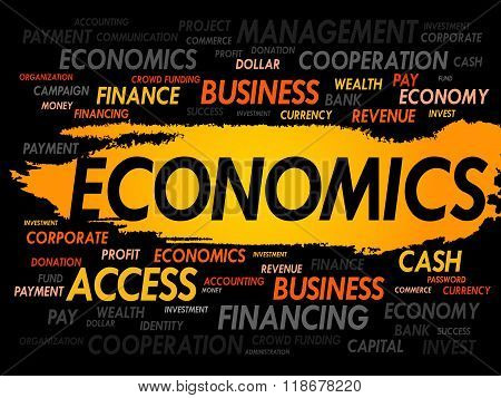 ECONOMICS word cloud business concept, presentation background