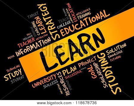 LEARN word cloud education concept, presentation background
