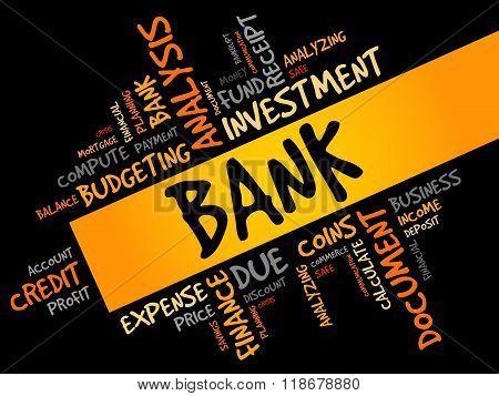BANK word cloud business concept, presentation background