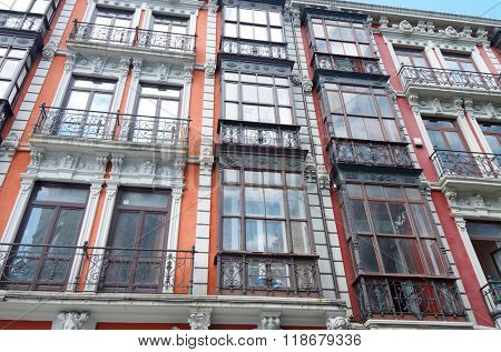 typical facade with balconies in the old town of Aviles, Asturias, Spain.