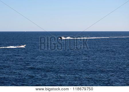 Modern Motor Boats In Sea