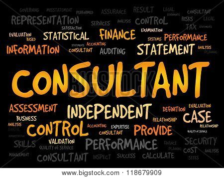 CONSULTANT word cloud business concept, presentation background