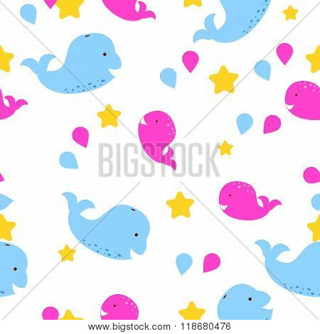 Whale Kid Seamless Vector Pattern For Textile Print.