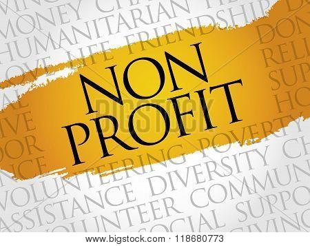 Non Profit word cloud collage concept, presentation background
