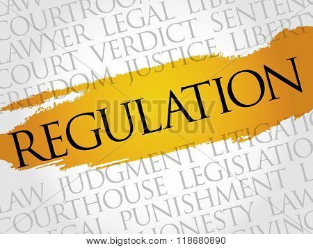 Regulation word cloud collage concept, presentation background