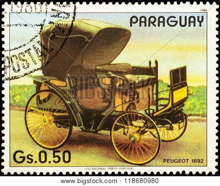 Old Car Peugeot (1892) On Postage Stamp