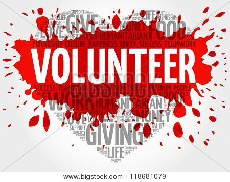 Volunteer word cloud heart concept, presentation background