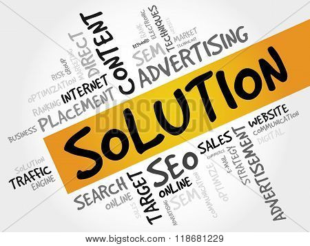 SOLUTION word cloud business concept, presentation background