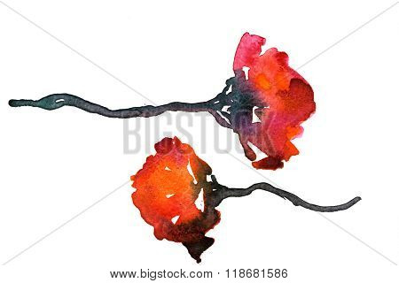 Pair Of Flowers Water-color