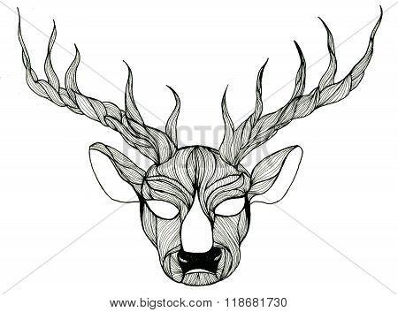 Deer Head Pen-and-ink Drawing