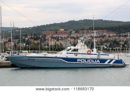 Police Boat Partol In Portorose
