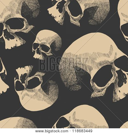 Seamless background with skulls. Hand drawn. Vector illustration.