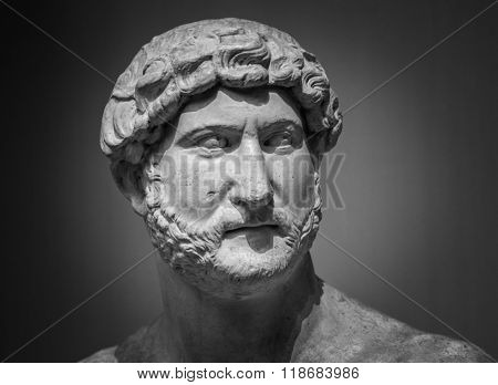 Ancient roman sculpture of the emperor Hadrian