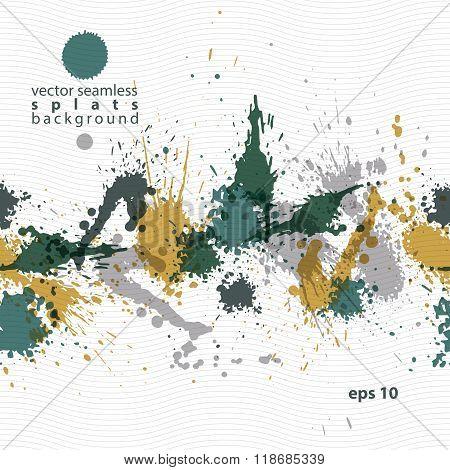 Colorful splattered web design repeat pattern art ink blob multilayered paintbrush drawing. Bright transparent seamless background eps10.