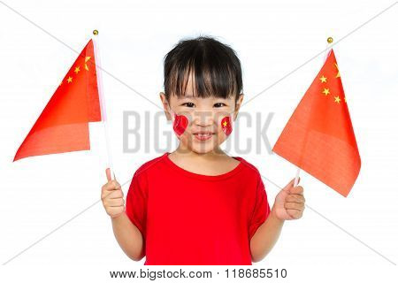 Asian Little Chinese Girl Holding China Flag